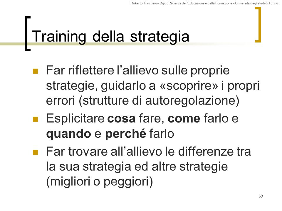 Training della strategia