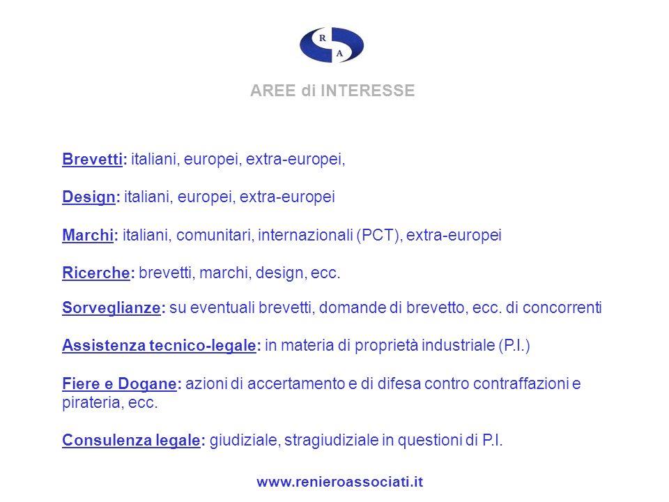 AREE di INTERESSE Brevetti: italiani, europei, extra-europei,