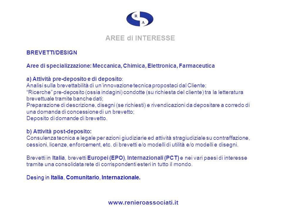 AREE di INTERESSE www.renieroassociati.it BREVETTI/DESIGN