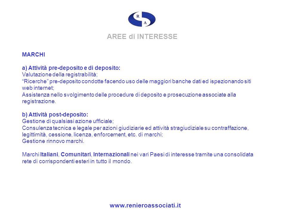 AREE di INTERESSE www.renieroassociati.it
