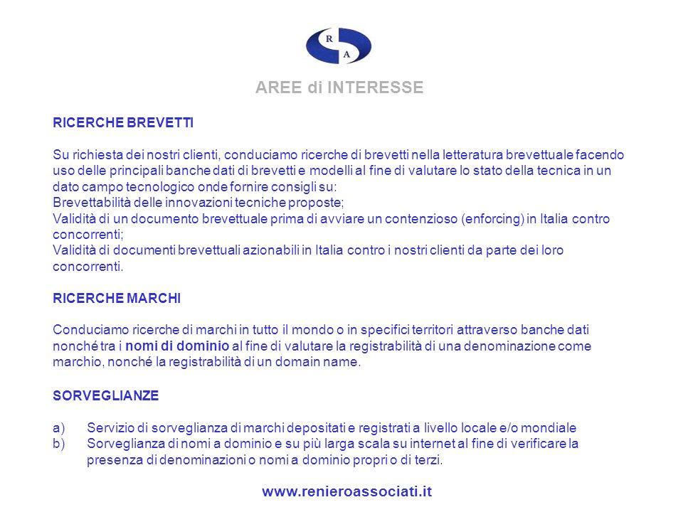 AREE di INTERESSE www.renieroassociati.it RICERCHE BREVETTI