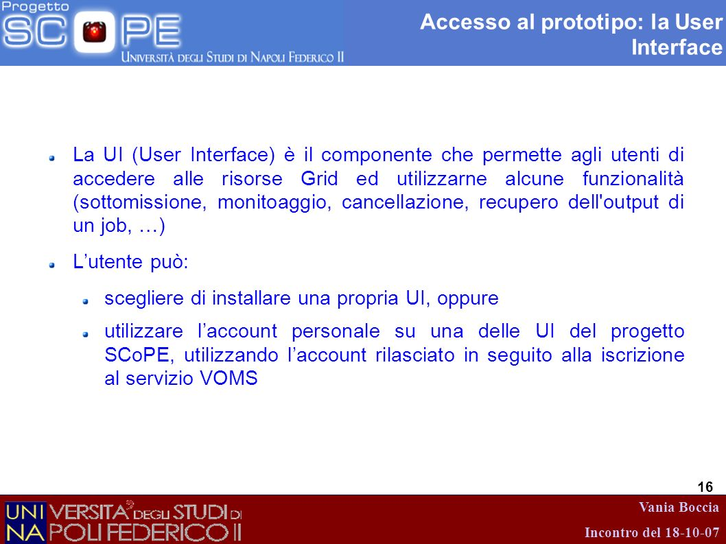 Accesso al prototipo: la User Interface