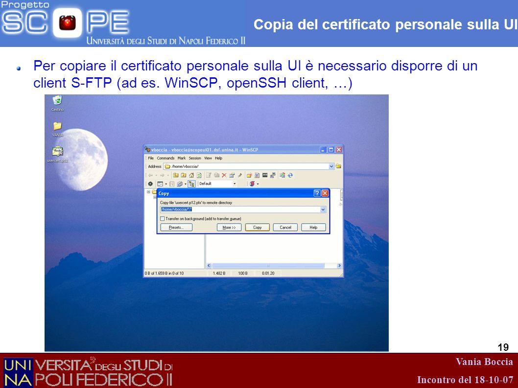Copia del certificato personale sulla UI