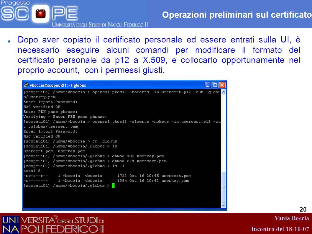 Operazioni preliminari sul certificato