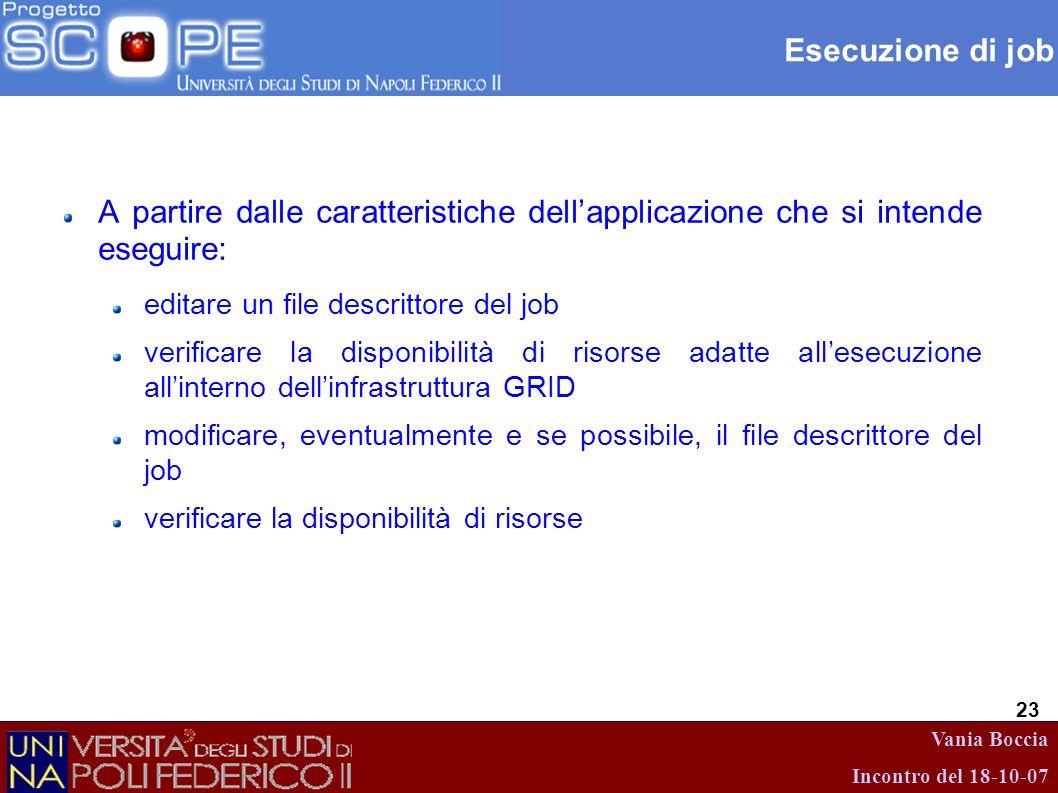 Esecuzione di job A partire dalle caratteristiche dell'applicazione che si intende eseguire: editare un file descrittore del job.