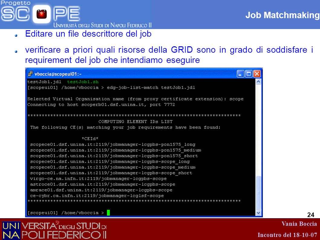 Job Matchmaking Editare un file descrittore del job.