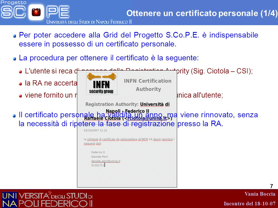 Ottenere un certificato personale (1/4)