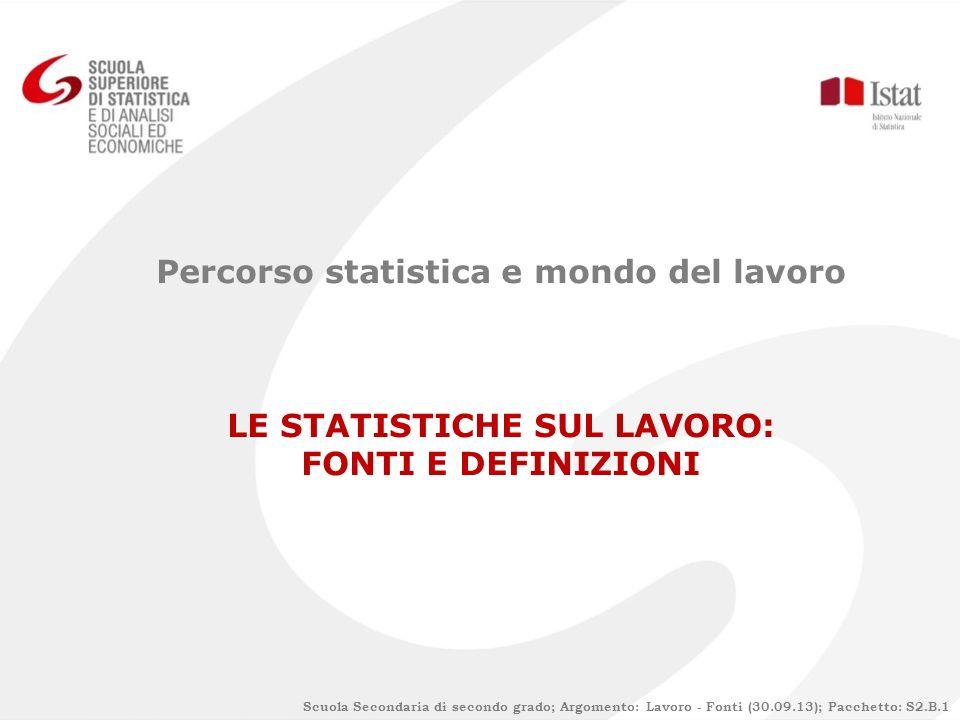 Percorso statistica e mondo del lavoro LE STATISTICHE SUL LAVORO: