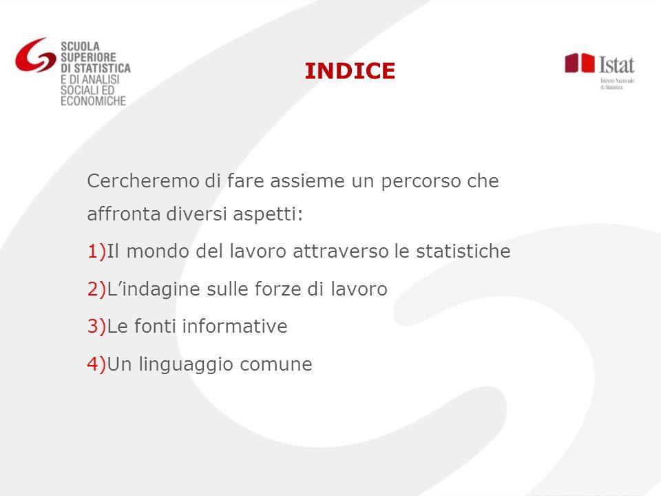 INDICE Cercheremo di fare assieme un percorso che affronta diversi aspetti: Il mondo del lavoro attraverso le statistiche.