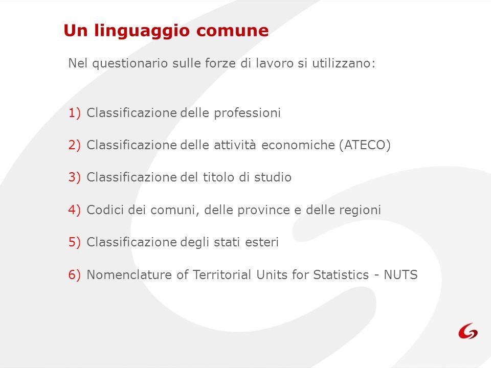 Un linguaggio comune Nel questionario sulle forze di lavoro si utilizzano: Classificazione delle professioni.