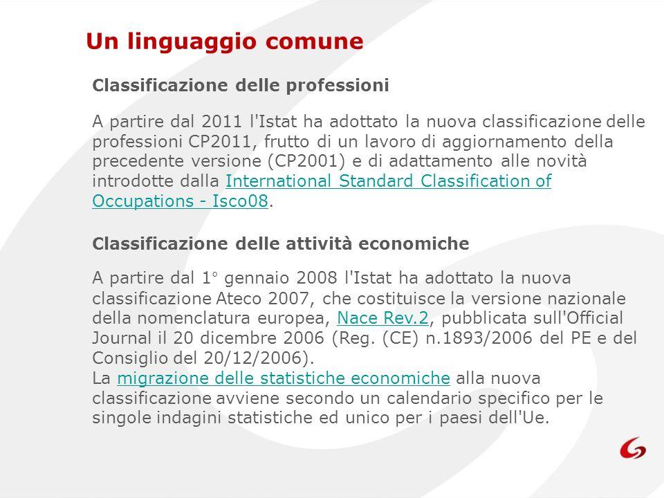 Un linguaggio comune Classificazione delle professioni