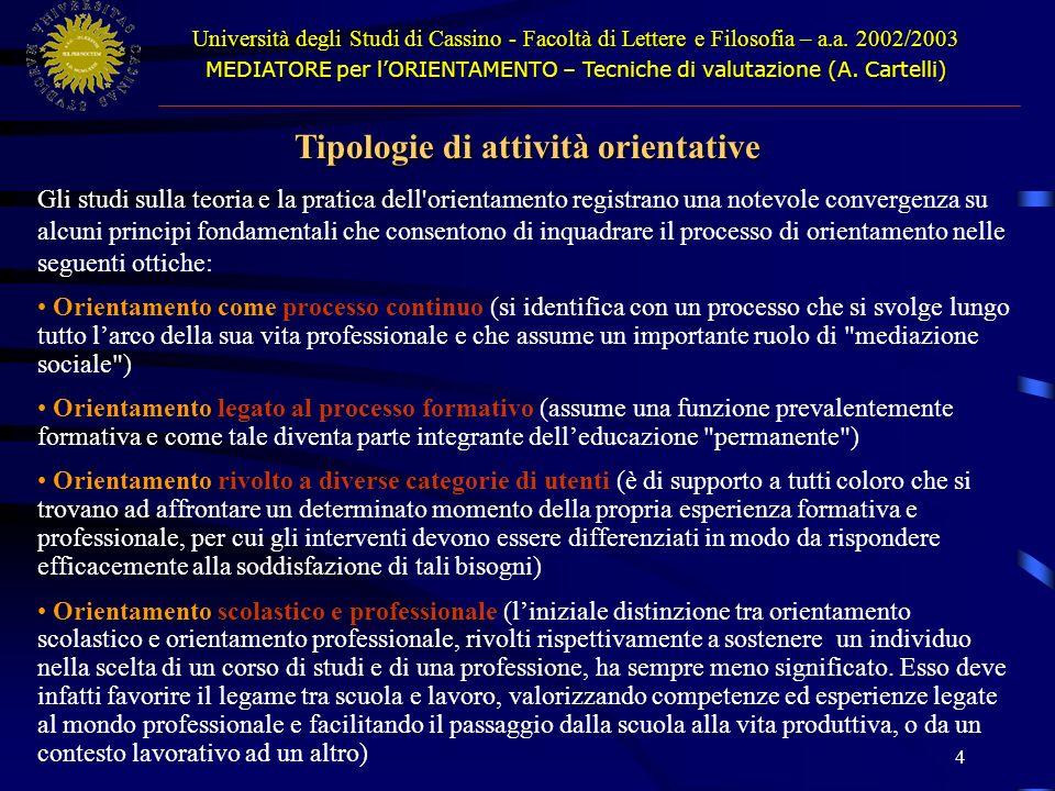Tipologie di attività orientative