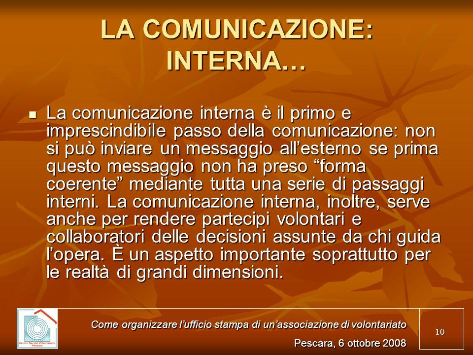 LA COMUNICAZIONE: INTERNA…