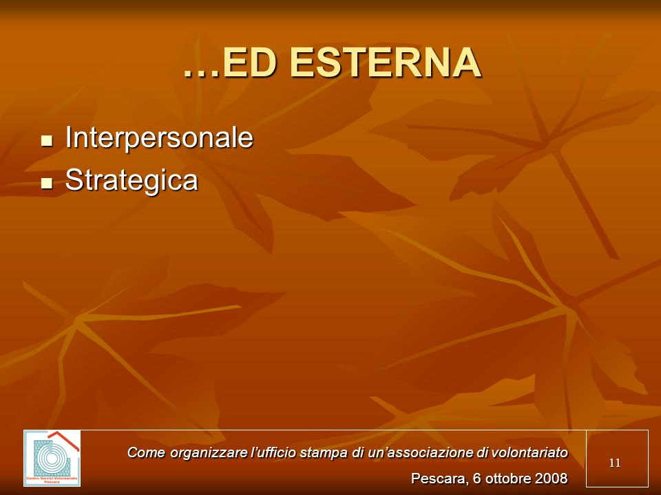 …ED ESTERNA Interpersonale Strategica
