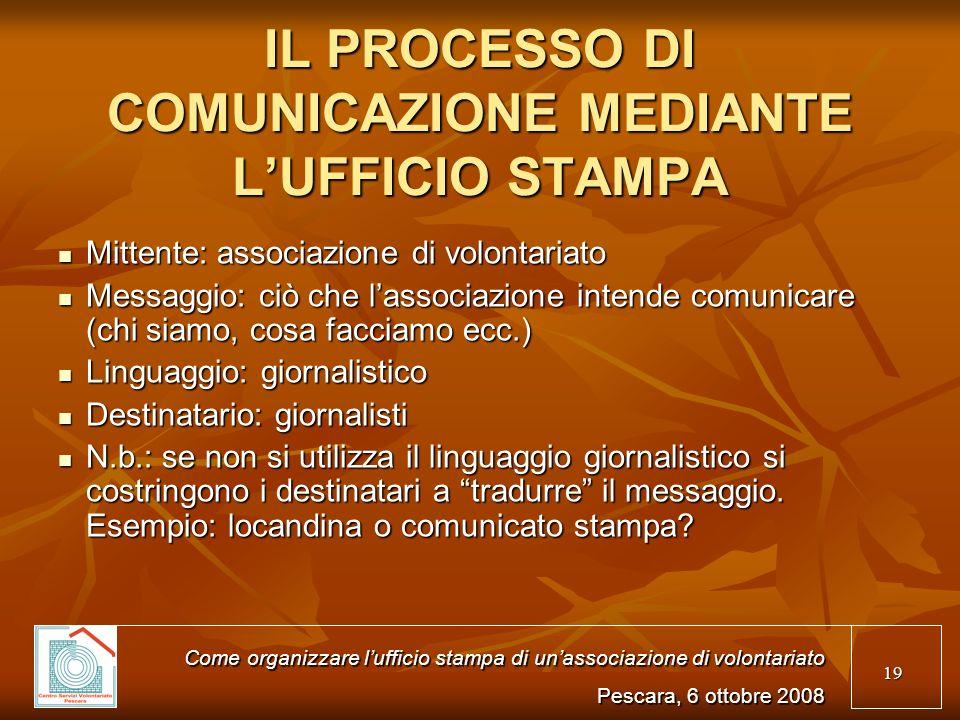 IL PROCESSO DI COMUNICAZIONE MEDIANTE L'UFFICIO STAMPA
