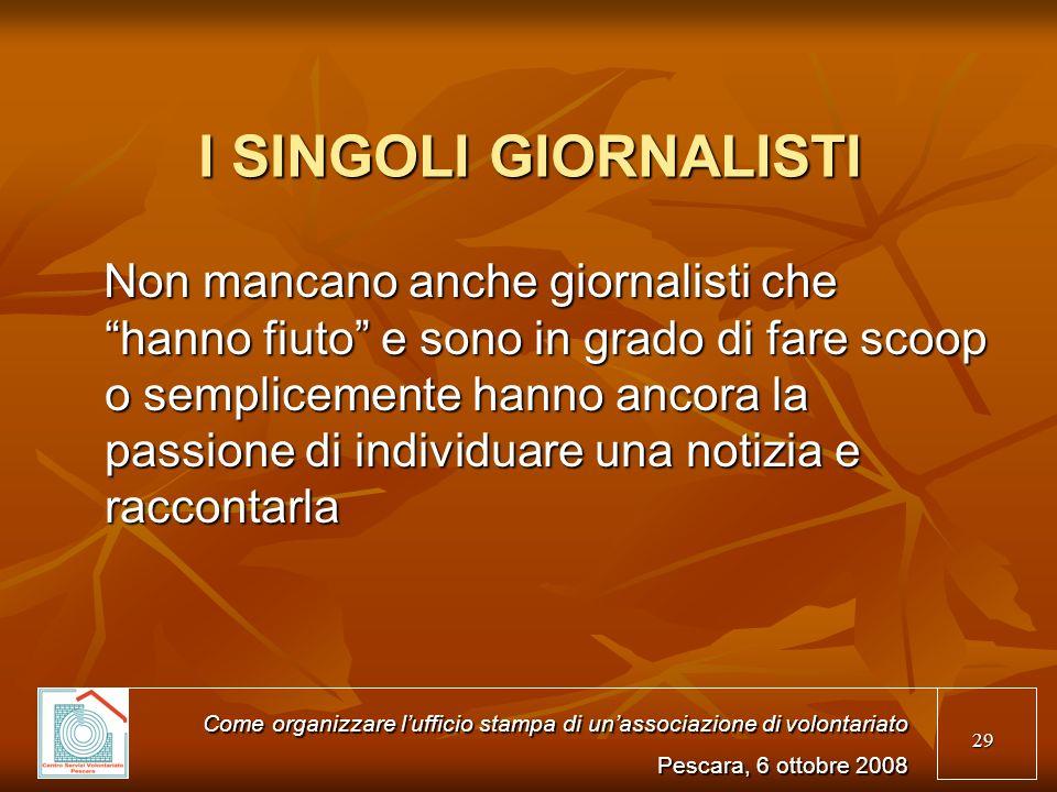 I SINGOLI GIORNALISTI