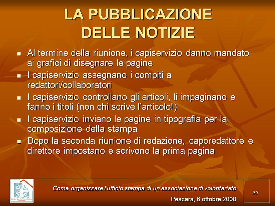 LA PUBBLICAZIONE DELLE NOTIZIE