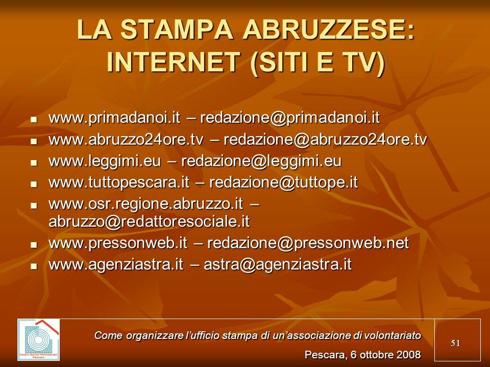 LA STAMPA ABRUZZESE: INTERNET (SITI E TV)