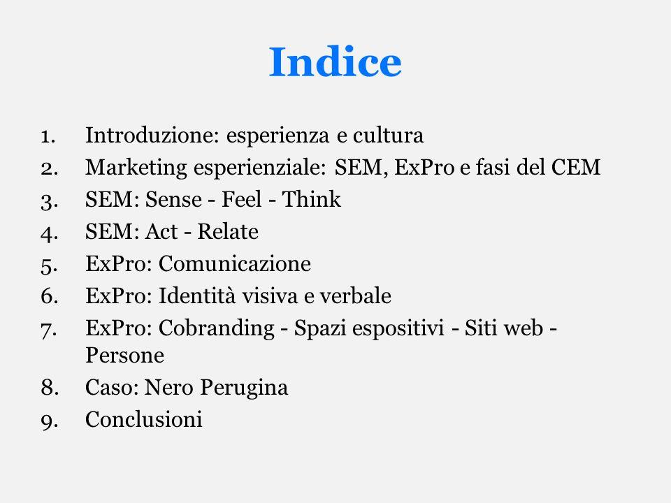 Indice Introduzione: esperienza e cultura