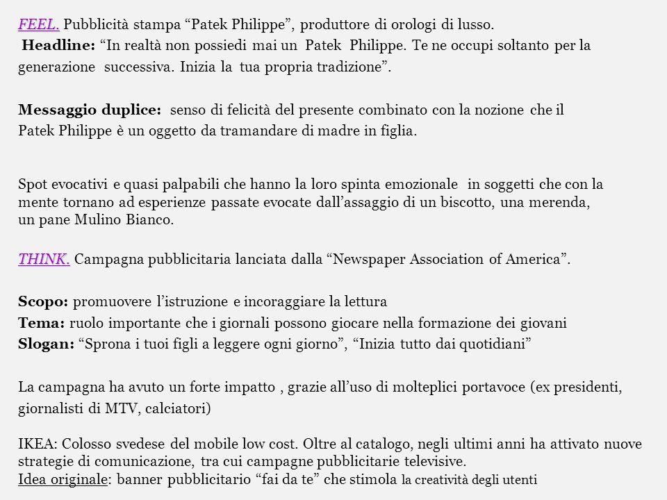 FEEL. Pubblicità stampa Patek Philippe , produttore di orologi di lusso.