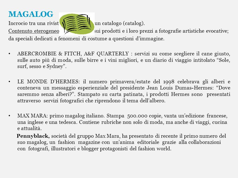 MAGALOG Incrocio tra una rivista (magazine) e un catalogo (catalog).
