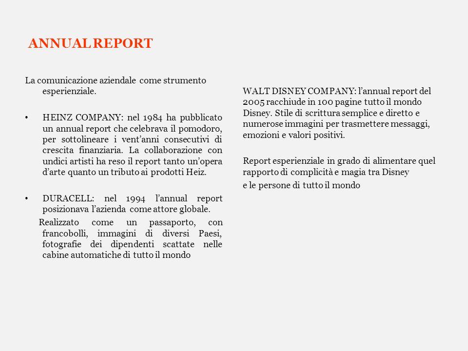 ANNUAL REPORT La comunicazione aziendale come strumento esperienziale.