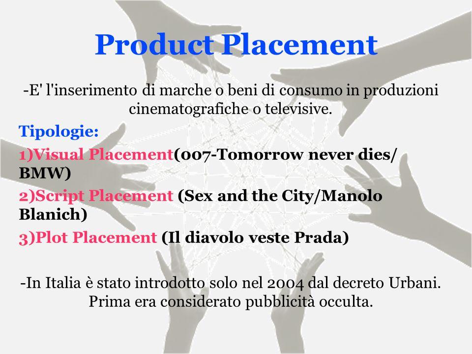 Product Placement -E l inserimento di marche o beni di consumo in produzioni cinematografiche o televisive.