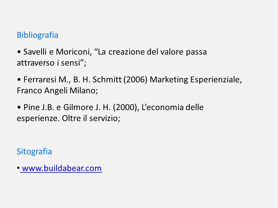 Bibliografia Savelli e Moriconi, La creazione del valore passa attraverso i sensi ;