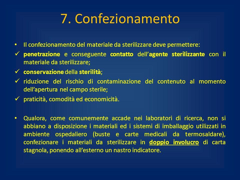 7. Confezionamento Il confezionamento del materiale da sterilizzare deve permettere: