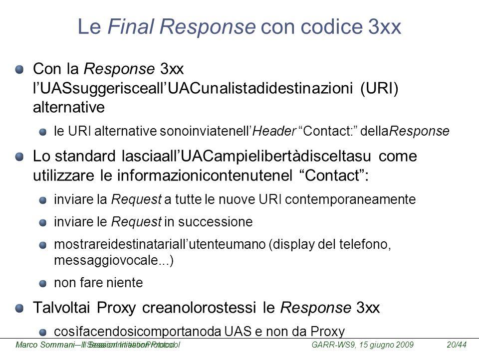 Le Final Response con codice 3xx