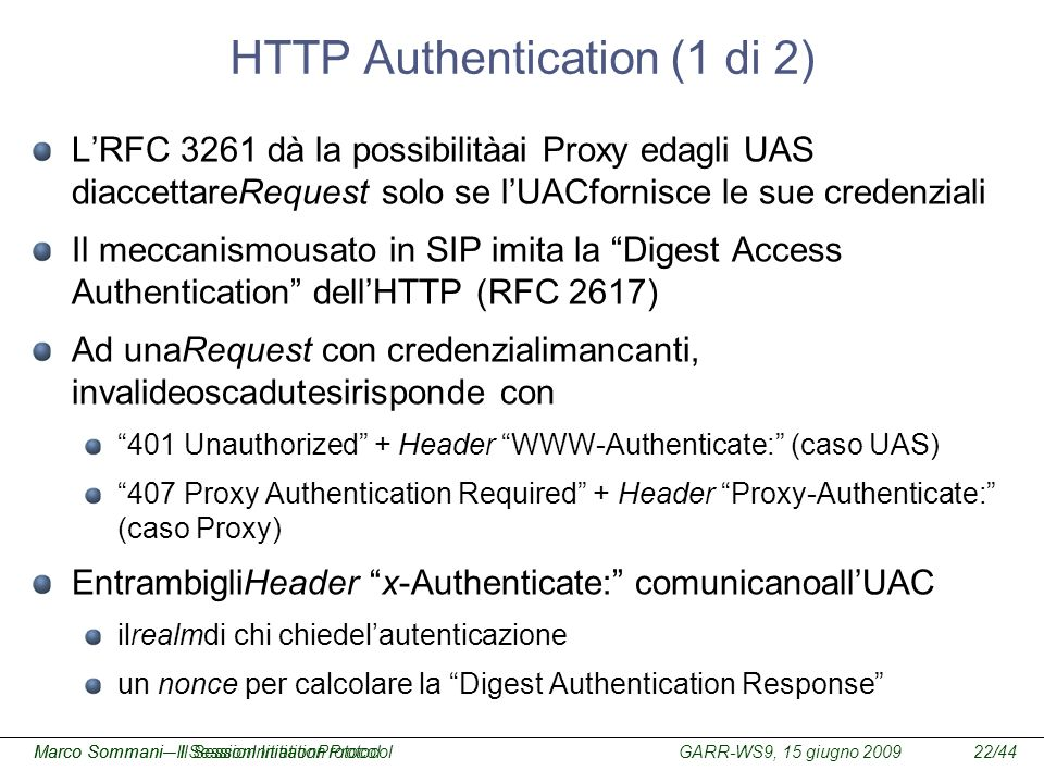 HTTP Authentication (1 di 2)