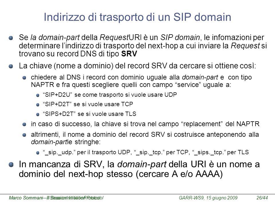 Indirizzo di trasporto di un SIP domain