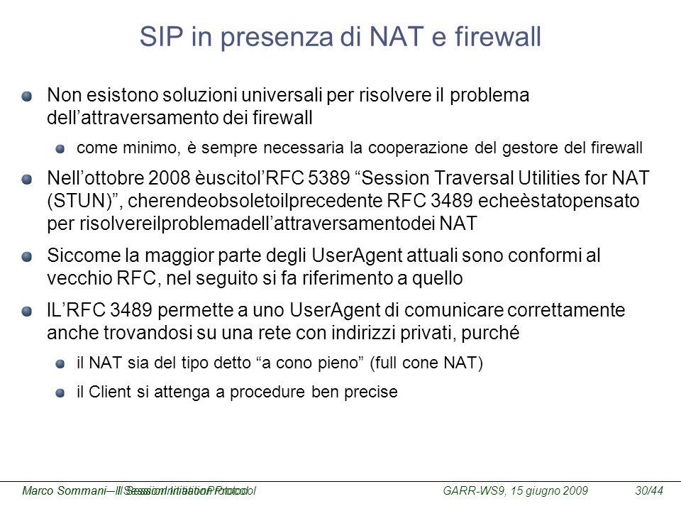 SIP in presenza di NAT e firewall