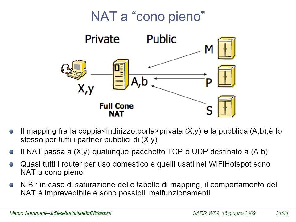 NAT a cono pieno Il mapping fra la coppia<indirizzo:porta>privata (X,y) e la pubblica (A,b),è lo stesso per tutti i partner pubblici di (X,y)