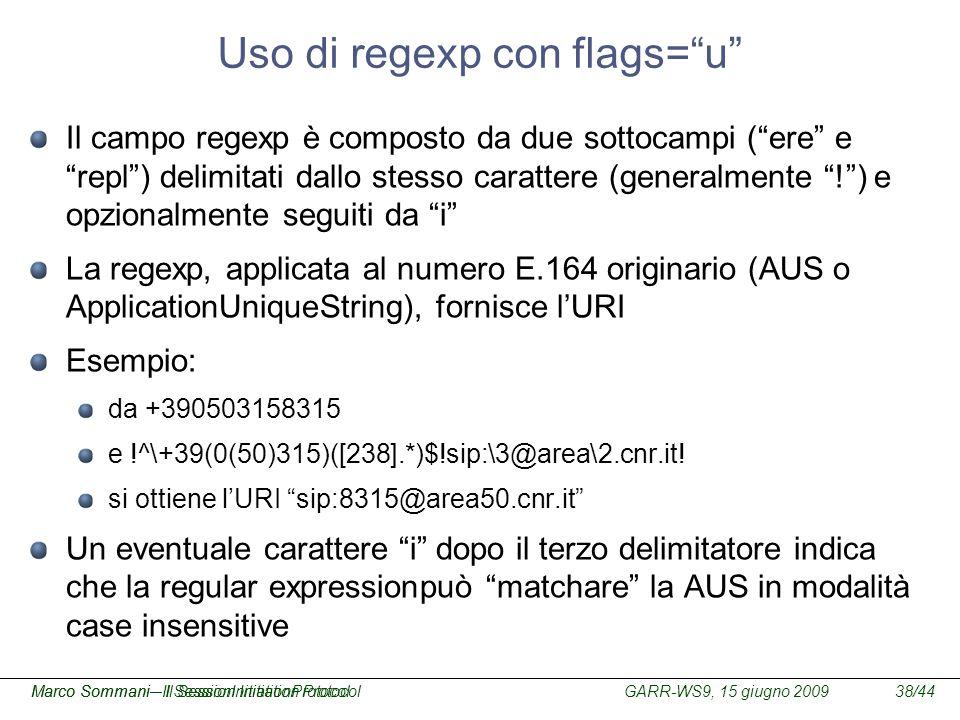 Uso di regexp con flags= u