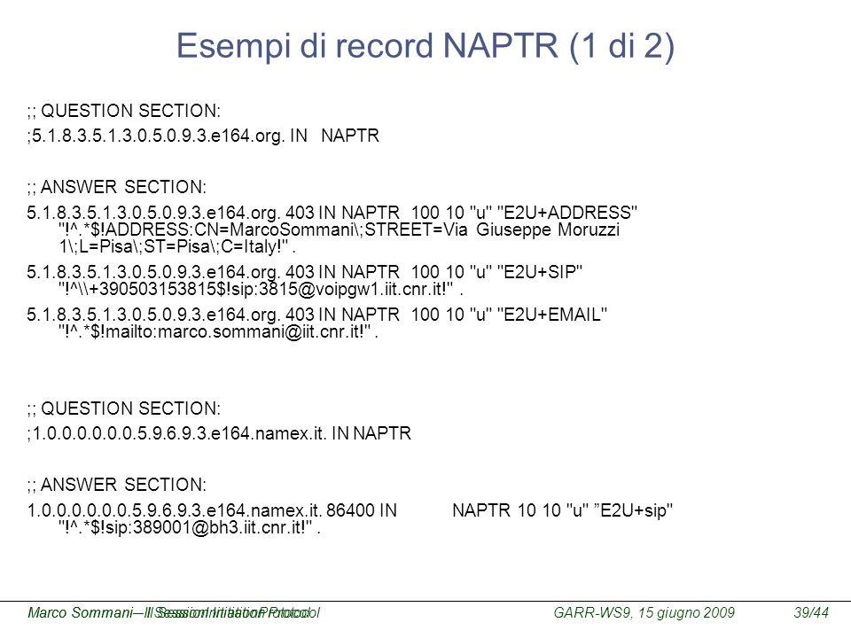 Esempi di record NAPTR (1 di 2)