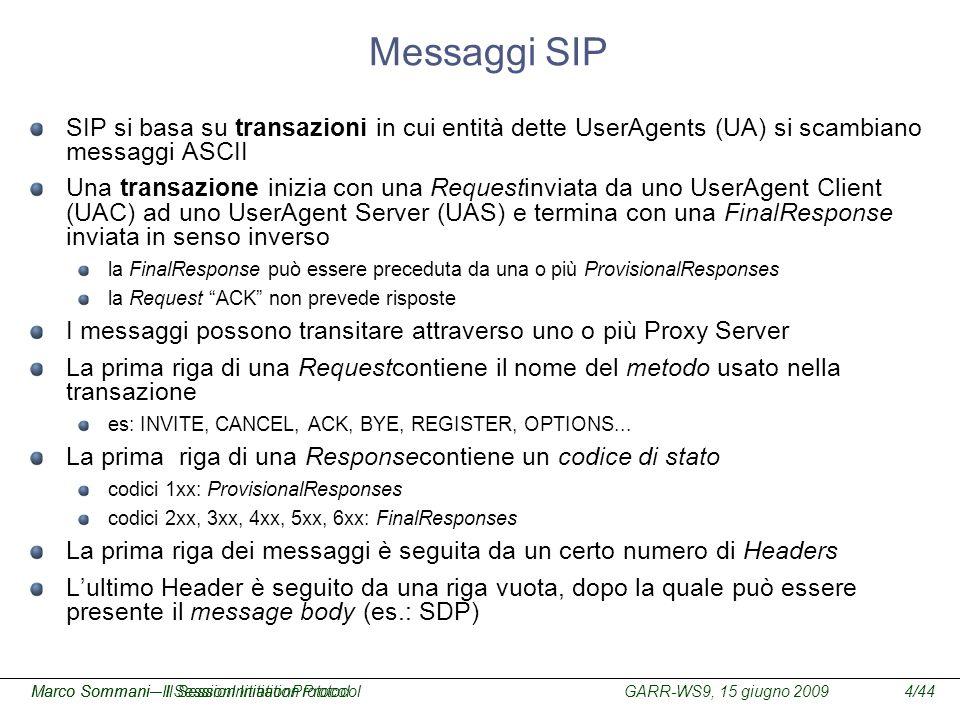 Messaggi SIP SIP si basa su transazioni in cui entità dette UserAgents (UA) si scambiano messaggi ASCII.