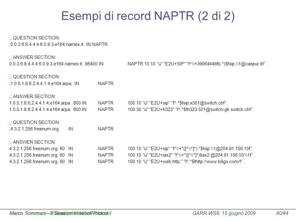 Esempi di record NAPTR (2 di 2)