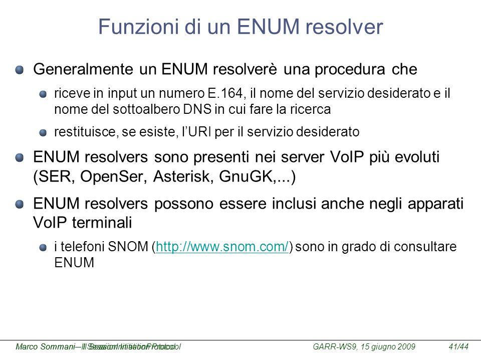 Funzioni di un ENUM resolver