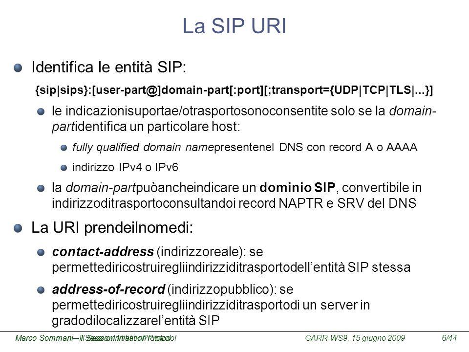 La SIP URI Identifica le entità SIP: La URI prendeilnomedi: