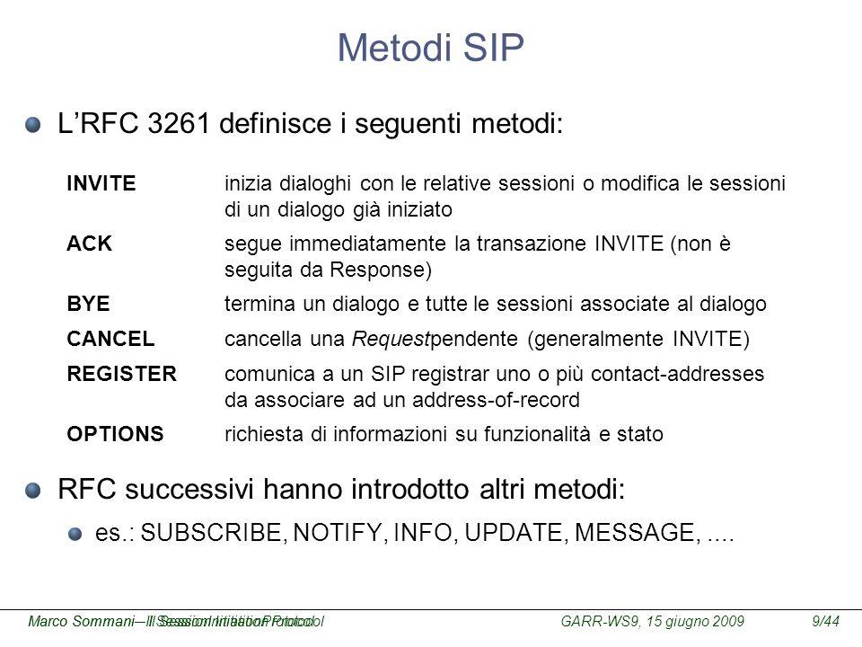 Metodi SIP L'RFC 3261 definisce i seguenti metodi: