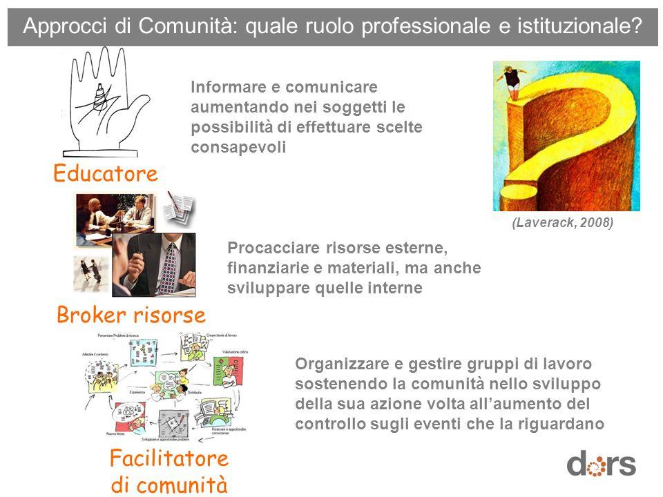Approcci di Comunità: quale ruolo professionale e istituzionale