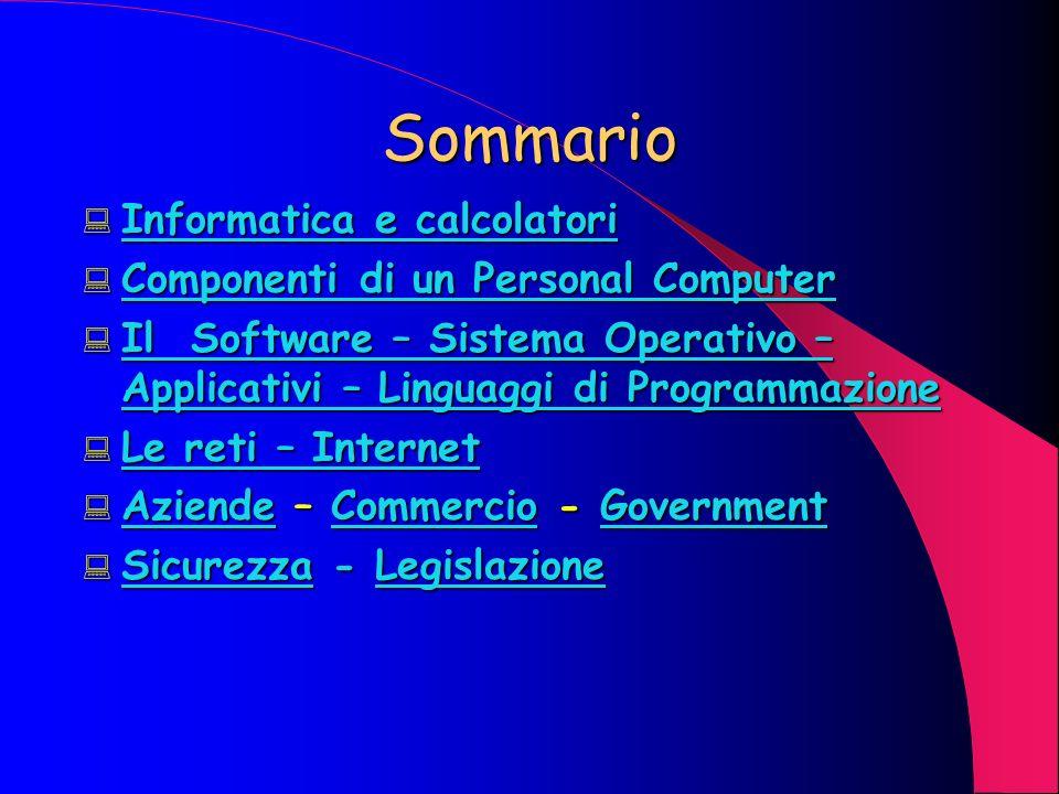 Sommario Informatica e calcolatori Componenti di un Personal Computer