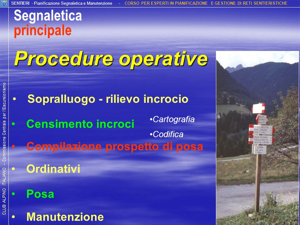 Procedure operative Segnaletica principale