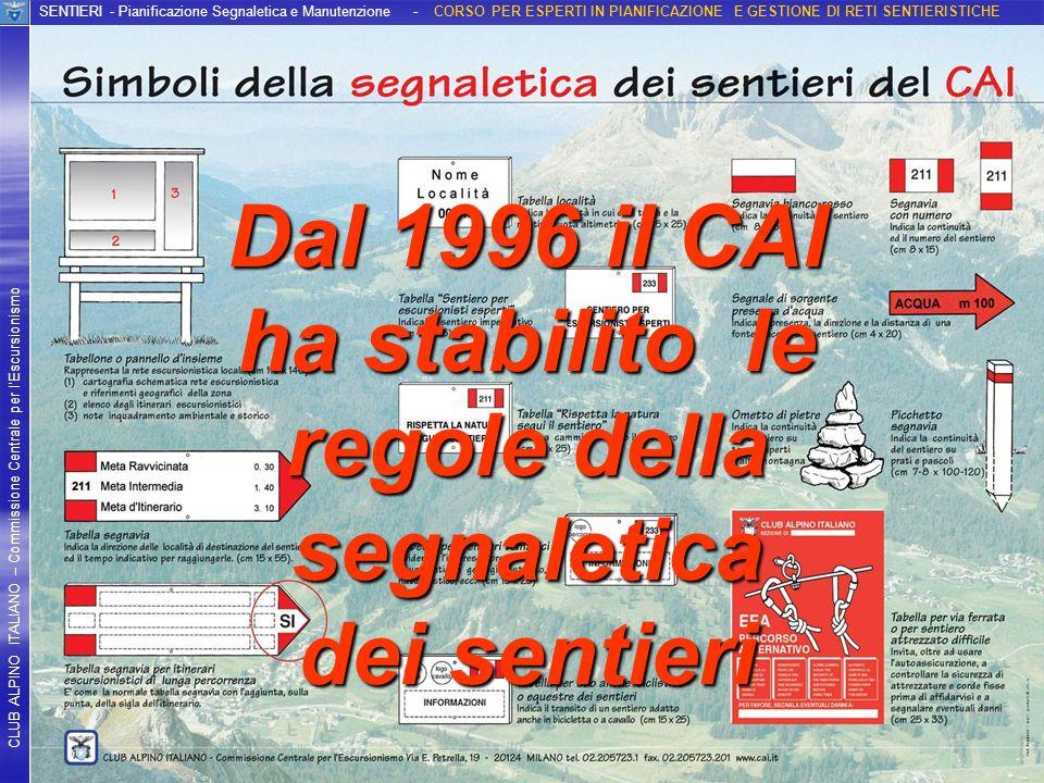 Dal 1996 il CAI ha stabilito le regole della segnaletica dei sentieri