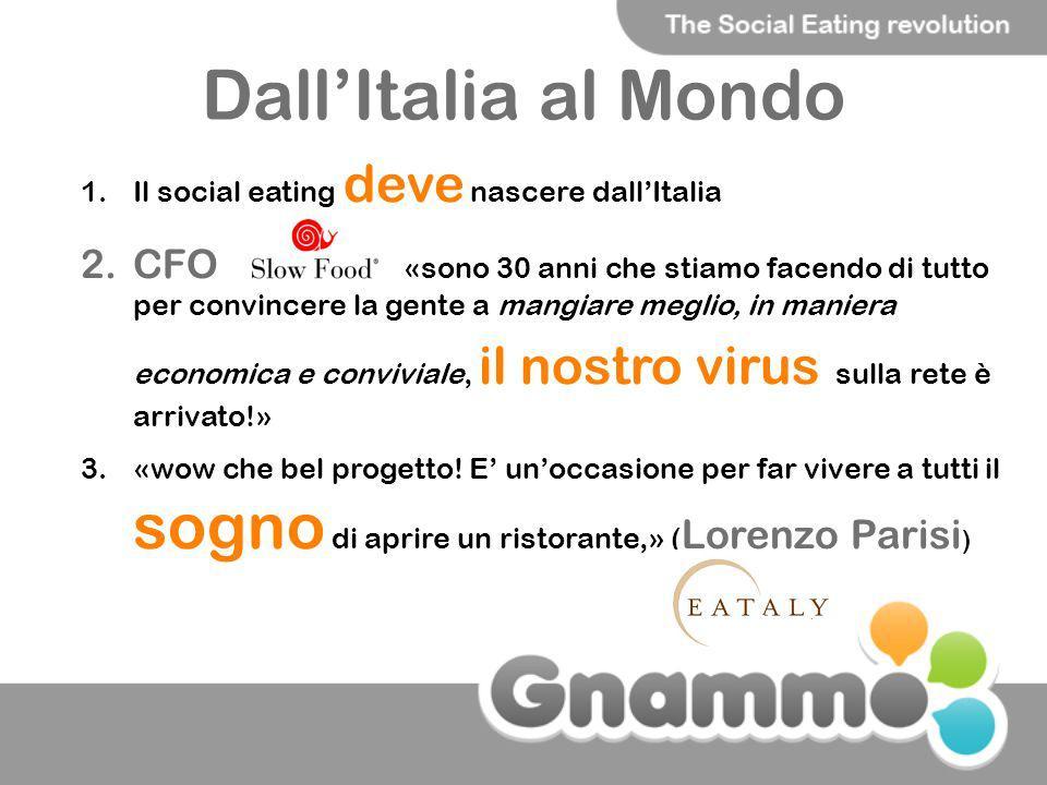 Dall'Italia al Mondo Il social eating deve nascere dall'Italia.