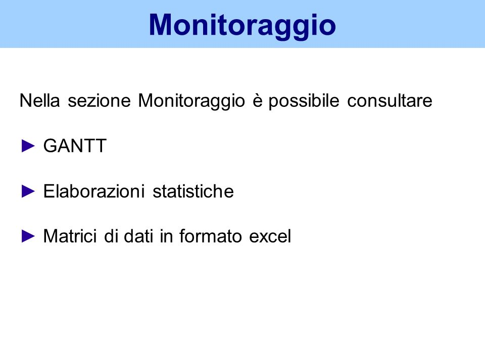 Monitoraggio Nella sezione Monitoraggio è possibile consultare ► GANTT