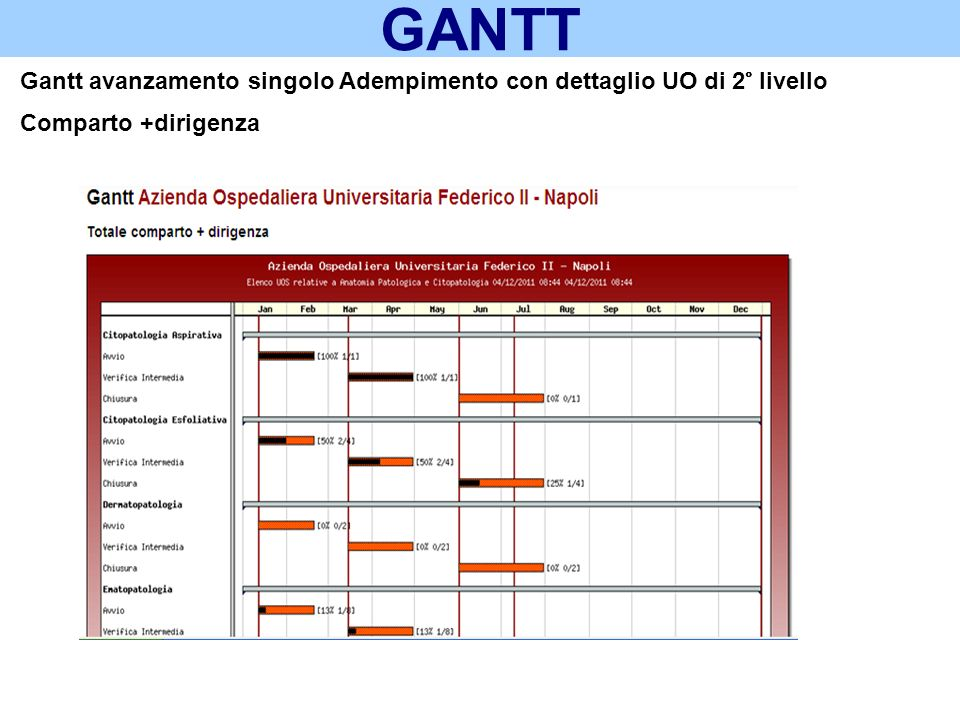 GANTT Gantt avanzamento singolo Adempimento con dettaglio UO di 2° livello Comparto +dirigenza 21
