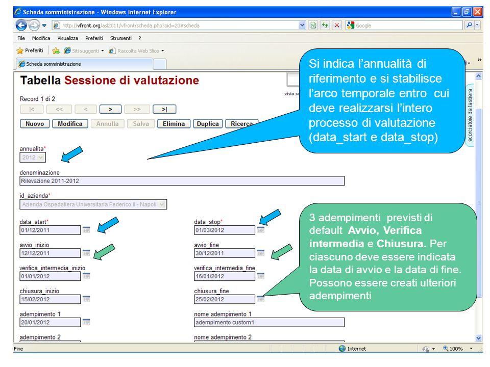 Si indica l'annualità di riferimento e si stabilisce l'arco temporale entro cui deve realizzarsi l'intero processo di valutazione (data_start e data_stop)