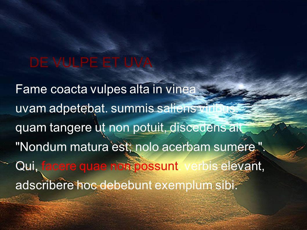 DE VULPE ET UVA Fame coacta vulpes alta in vinea